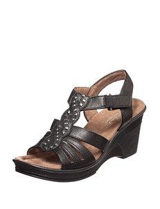 Natural Soul Black Wedge Sandals