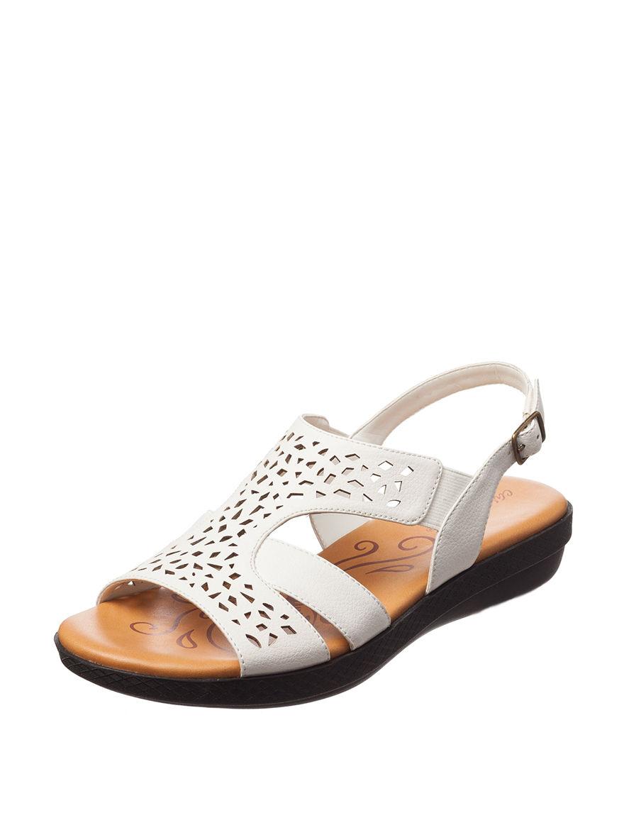 Easy Street White Flat Sandals