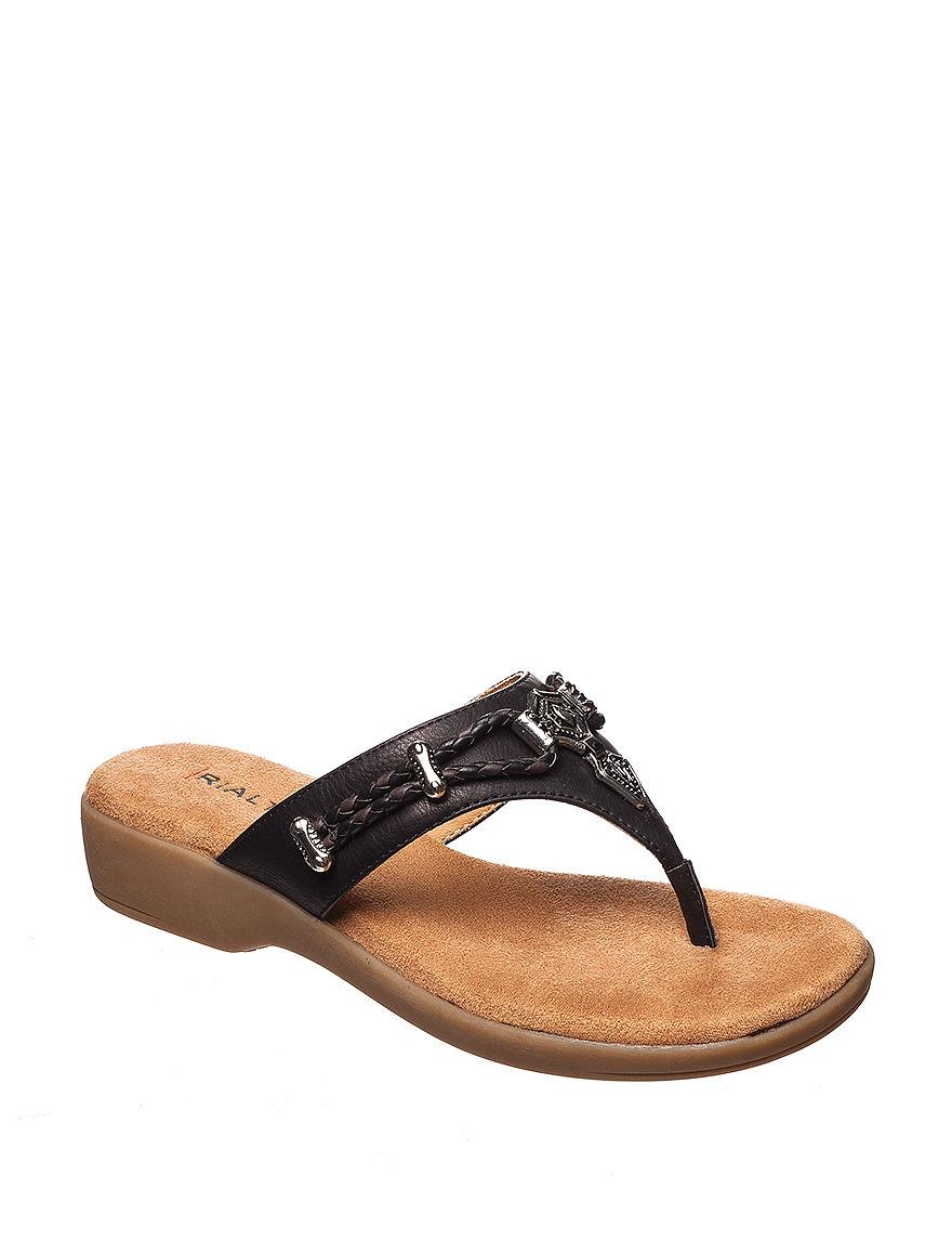 Rialto Black Flat Sandals Flip Flops