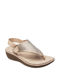 Cliffs Gold Flat Sandals Flip Flops