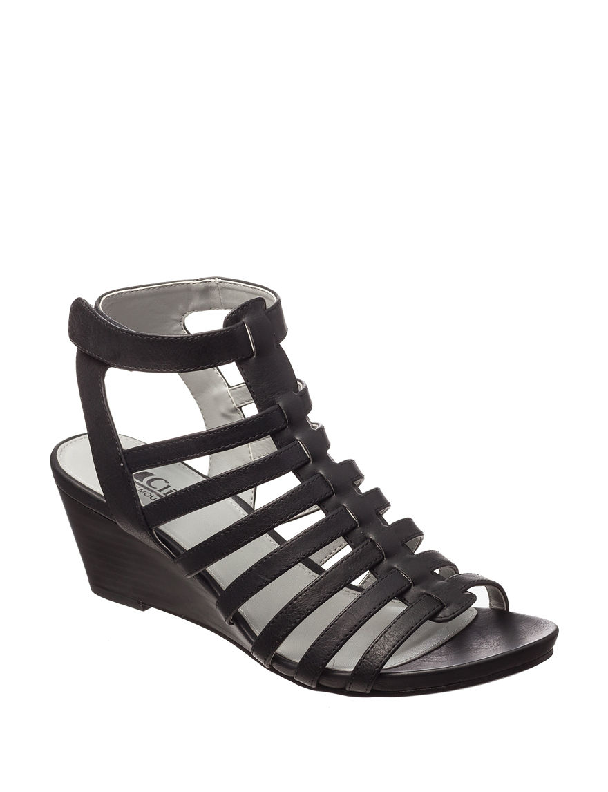 Cliffs Black Gladiators Wedge Sandals Comfort