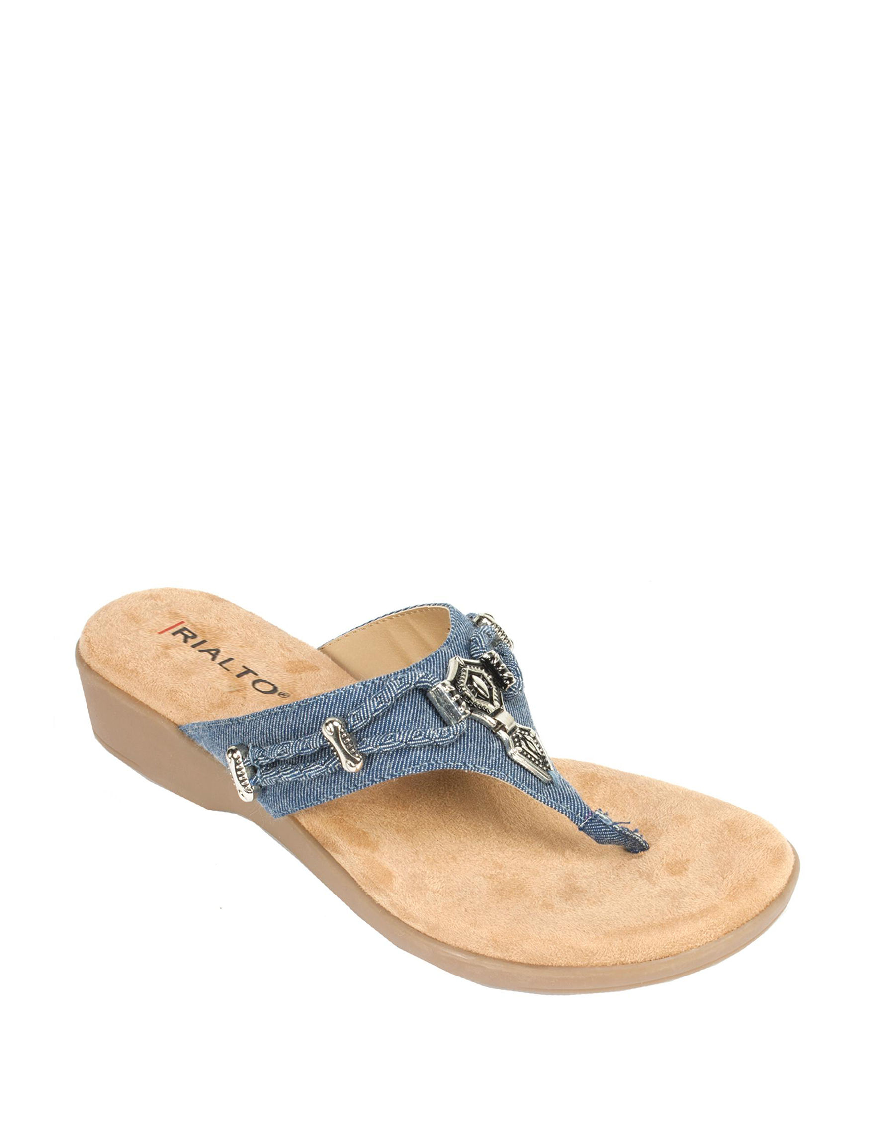 Rialto Denim Flat Sandals Flip Flops