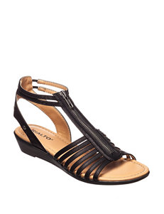 Rialto Black Flat Sandals Gladiators