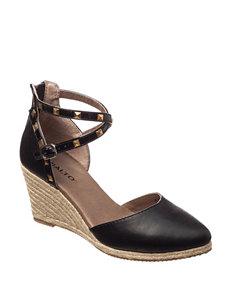 Rialto Black Espadrille Sandals Wedge Sandals