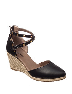 Rialto Black Espadrille Wedge Sandals