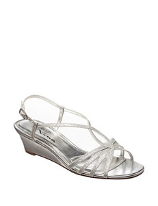 Touch of Nina Silver Wedge Sandals