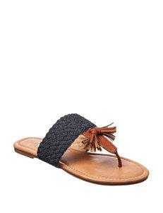 Olivia Miller Denim Flat Sandals Flip Flops