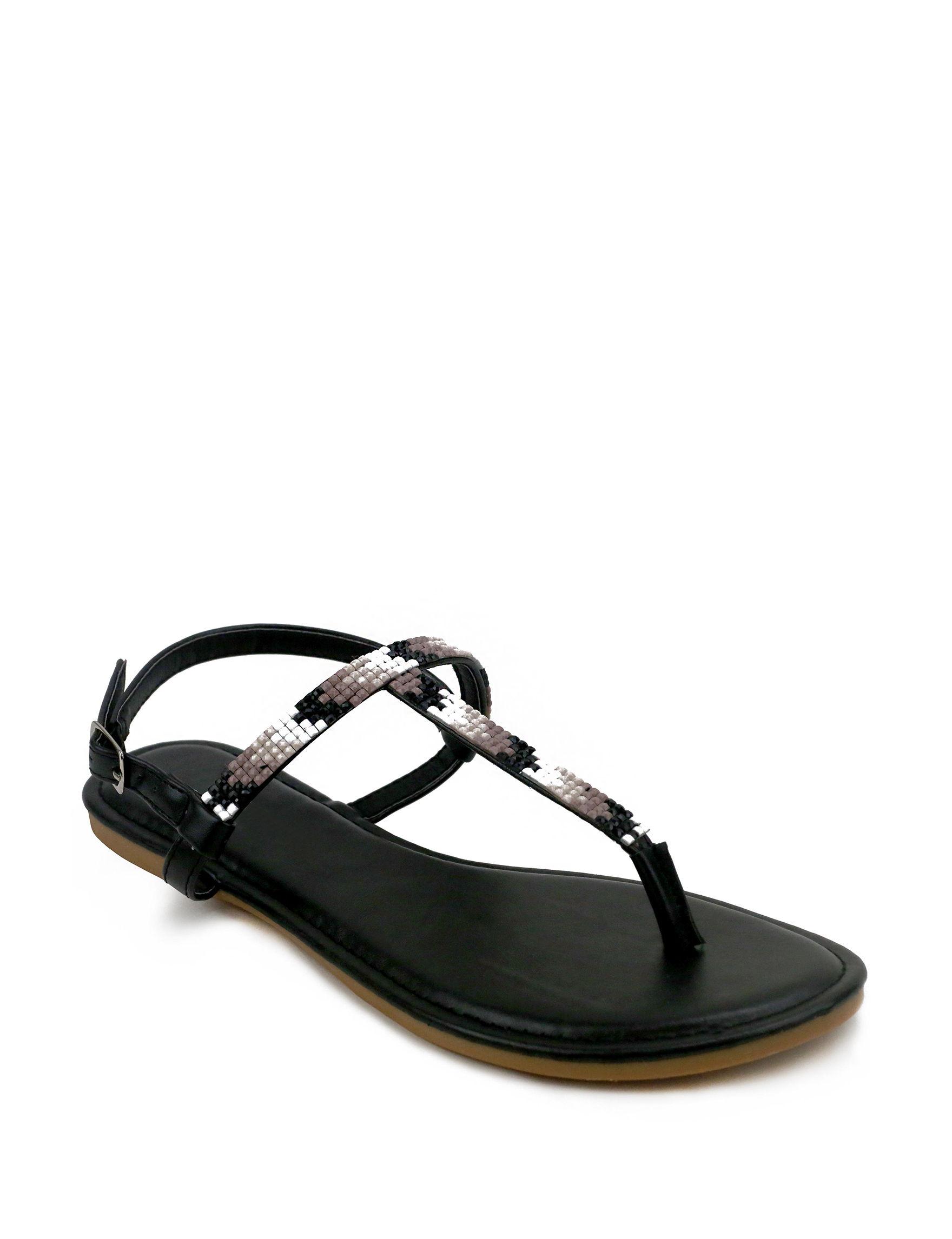 Olivia Miller Black Flat Sandals Flip Flops
