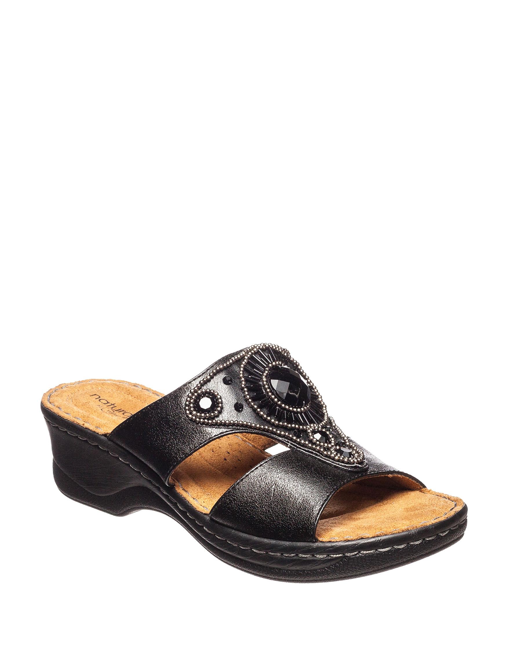 Natural Soul Black Wedge Sandals Comfort