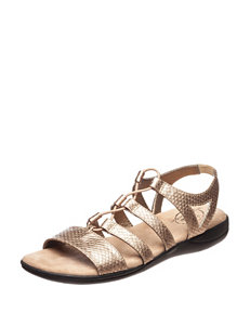 Life Stride Rose Gold Flat Sandals Gladiators