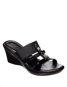 Italian Shoemakers Black Wedge Sandals