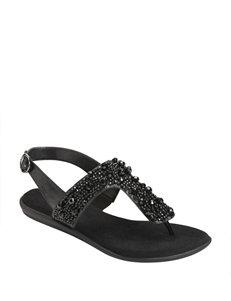 A2 by Aerosoles Black Flat Sandals