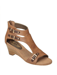 A2 by Aerosoles Tan Heeled Sandals Wedge Sandals Comfort