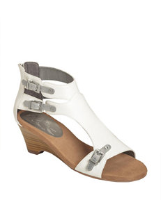 A2 by Aerosoles White Heeled Sandals Wedge Sandals Comfort
