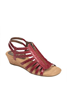 A2 by Aerosoles Red Wedge Sandals Comfort