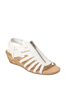 A2 by Aerosoles White Wedge Sandals Comfort