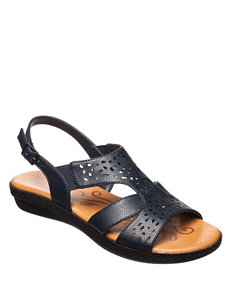 Easy Street Navy Wedge Sandals