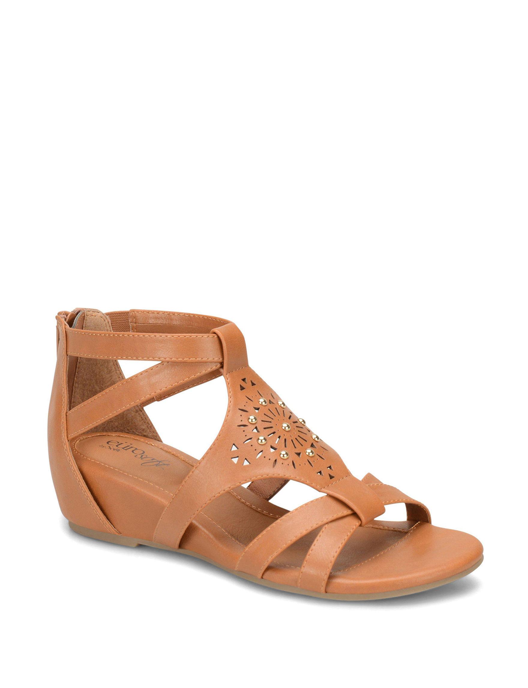 Eurosoft Brown Gladiators Wedge Sandals