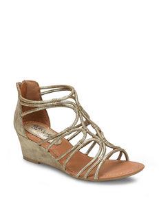 Eurosoft Gold Wedge Sandals
