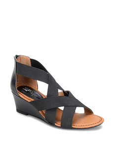Eurosoft Black Wedge Sandals
