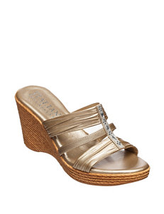 Italian Shoemakers SIlver Espadrille Wedge Sandals