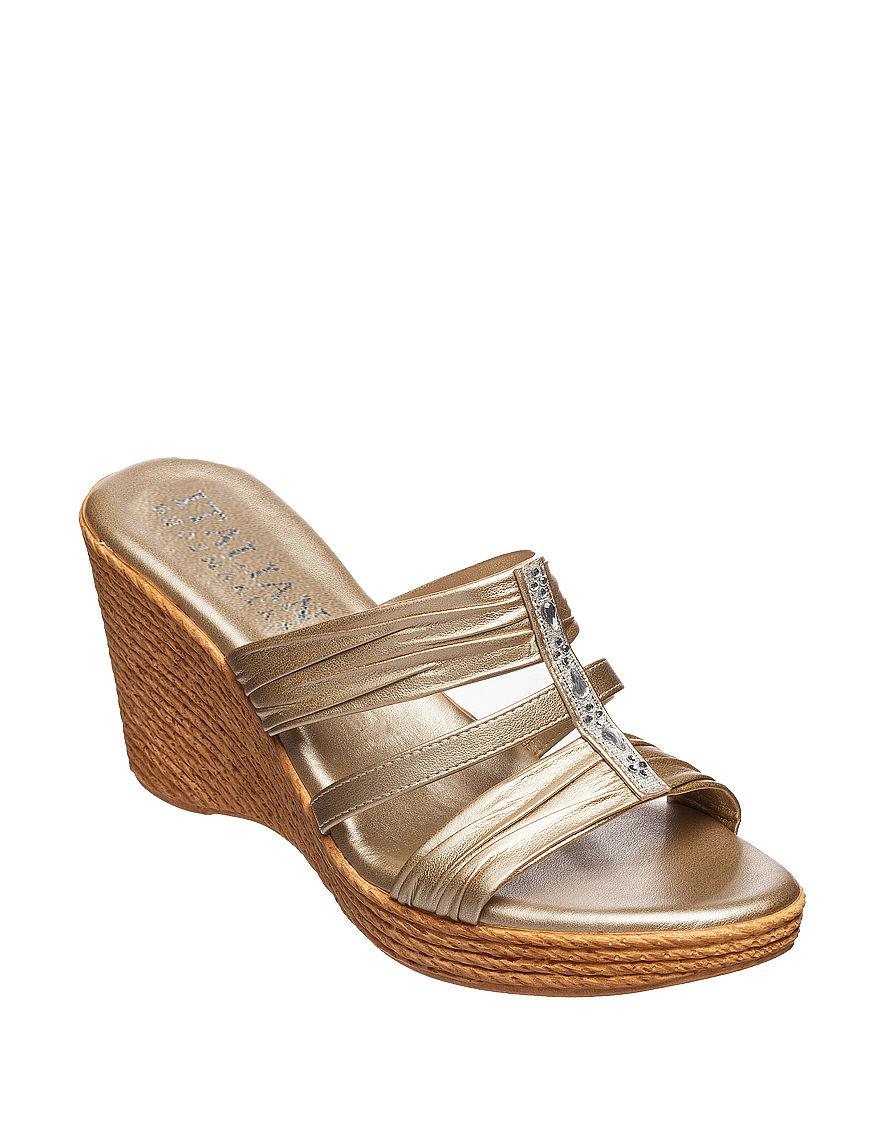 Italian Shoemakers SIlver Espadrille Wedge Sandals
