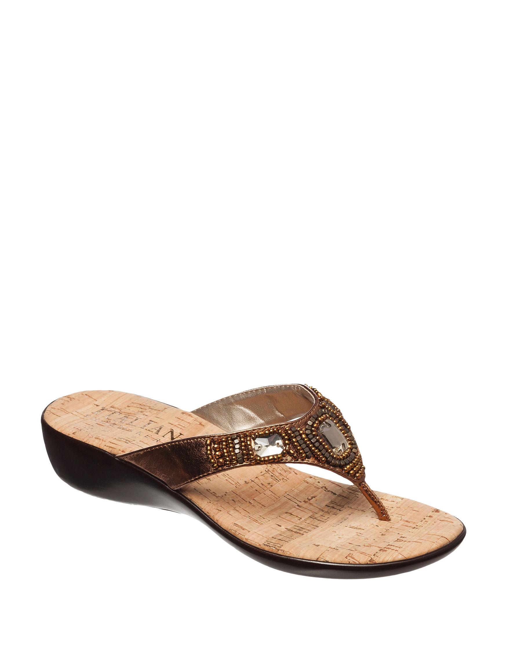 Italian Shoemakers Bronze Wedge Sandals