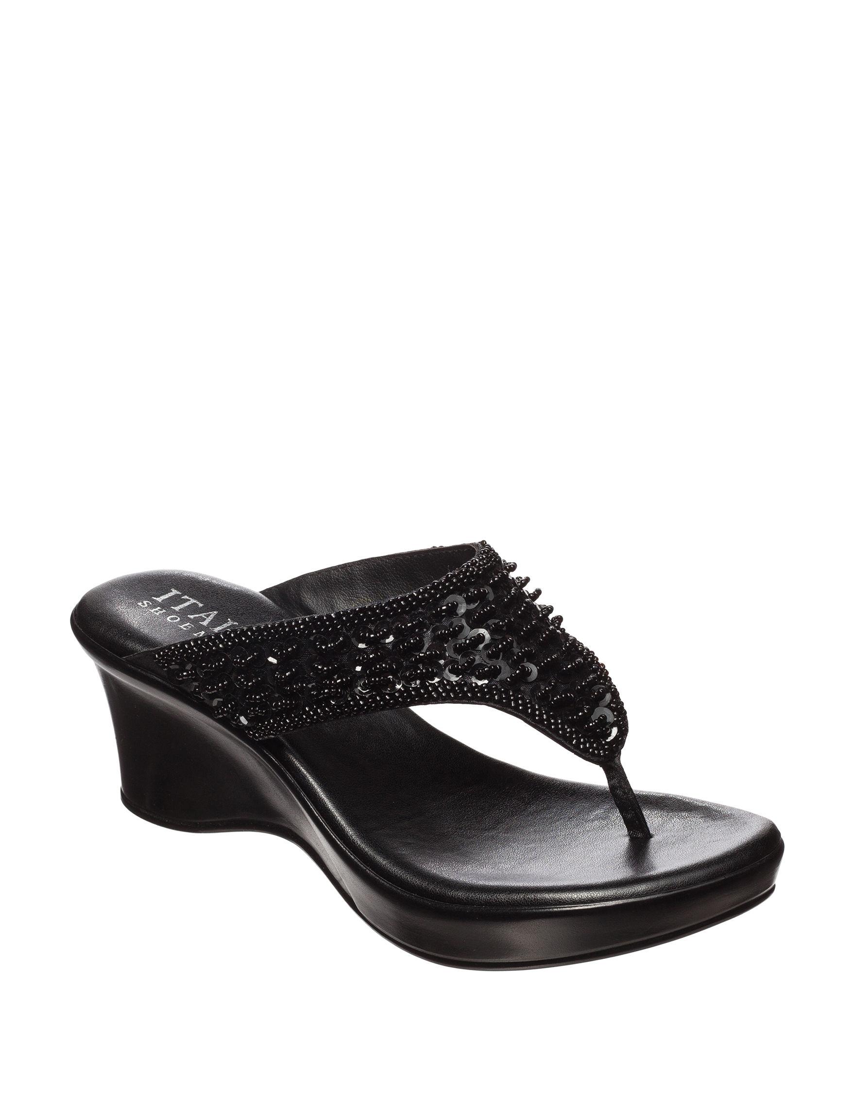 Italian Shoemakers Black Wedge Sandals
