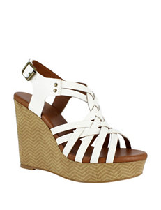 Dolce by Mojo Moxy White Wedge Sandals