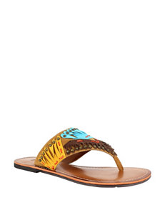 Dolce by Mojo Moxy Dark Brown Flat Sandals Flip Flops