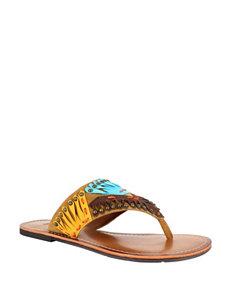 Dolce by Mojo Moxy Dark Brown Flat Sandals Flip Flops