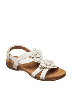 Natural Soul White Flat Sandals Comfort