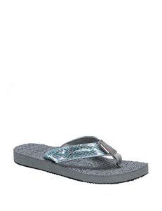 Muk Luks Blue Flat Sandals Flip Flops