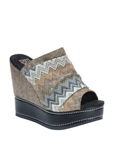 Muk Luks Grey Wedge Sandals