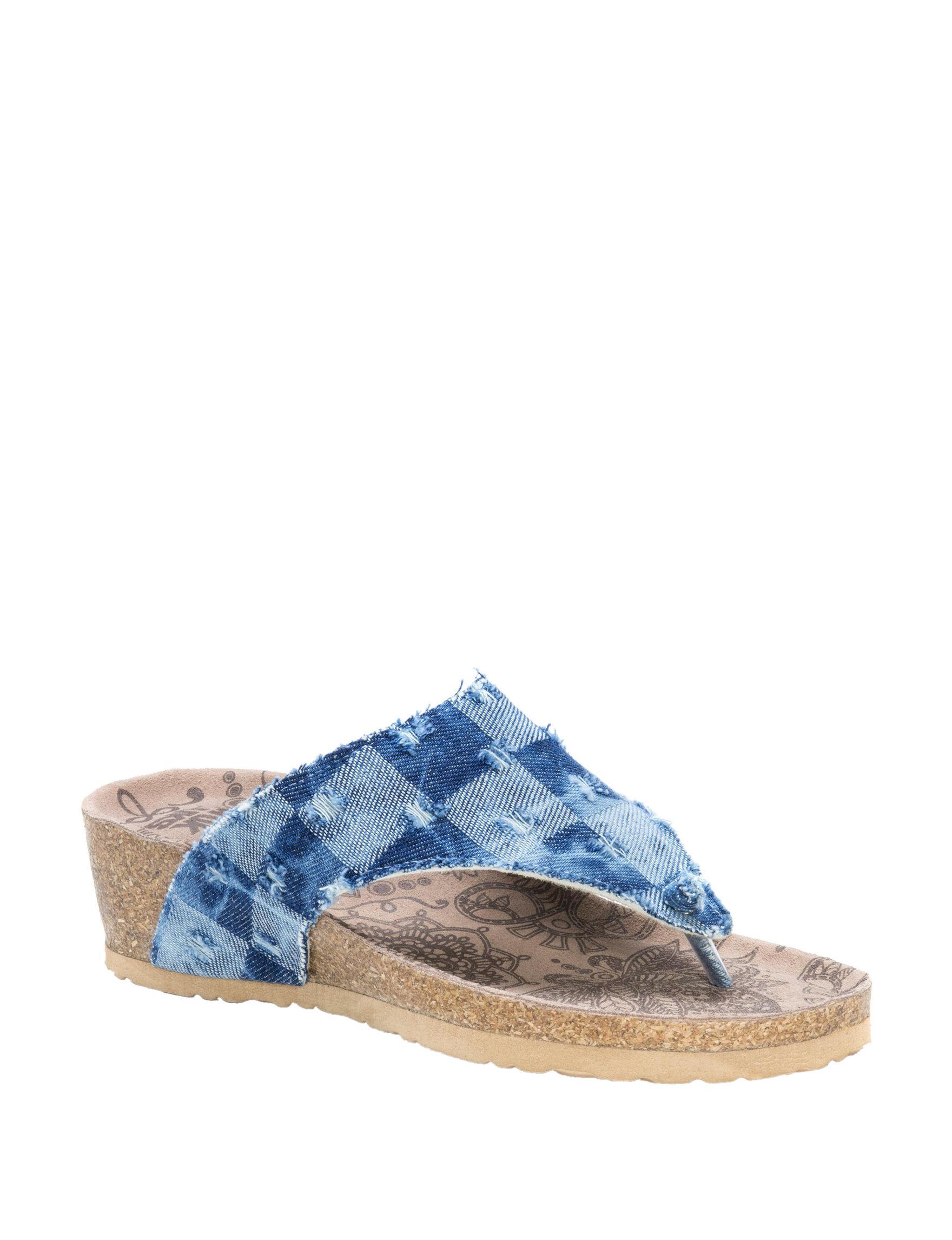Muk Luks Blue Wedge Sandals