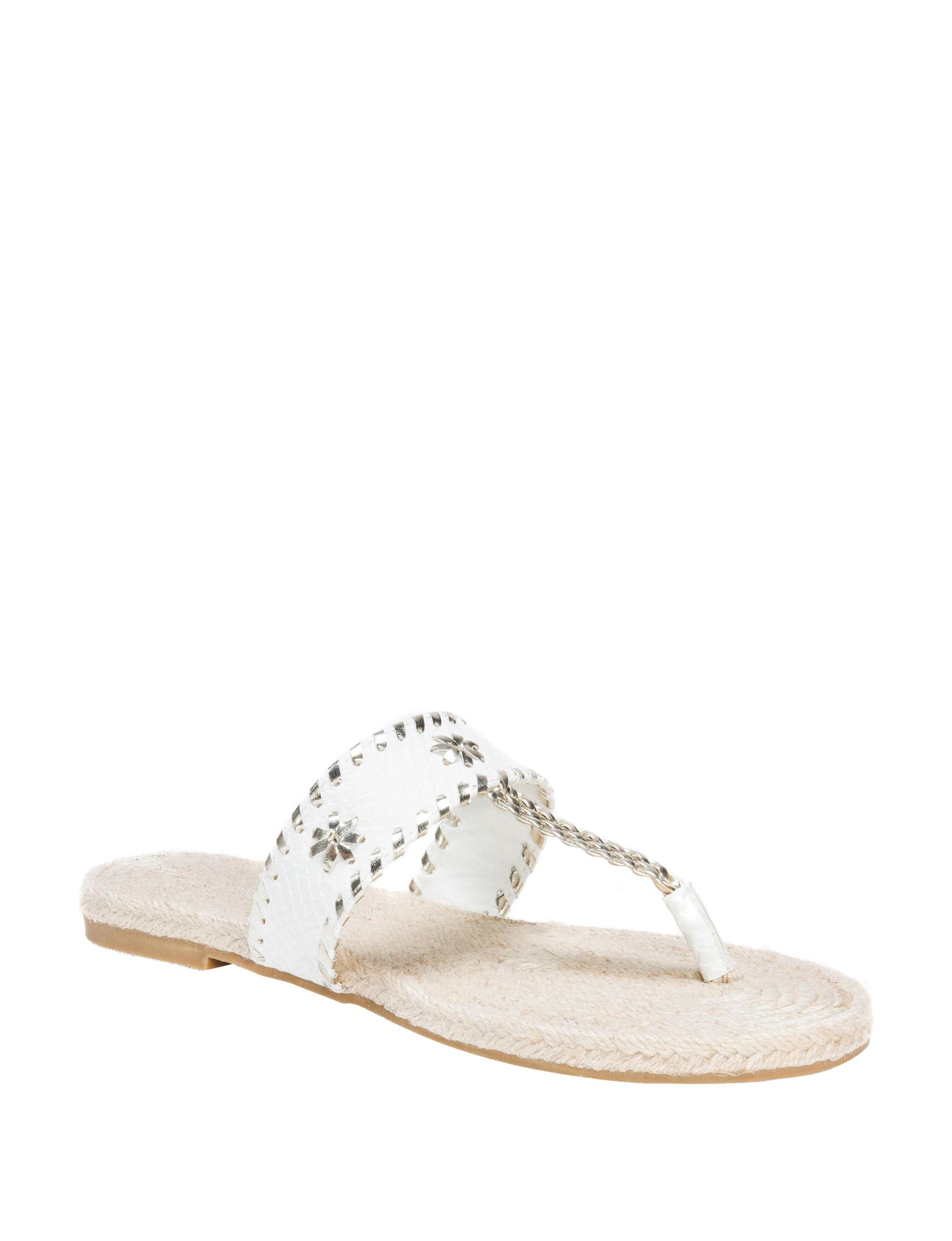 Muk Luks White Flat Sandals