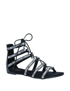 Muk Luks Black Flat Sandals Gladiators
