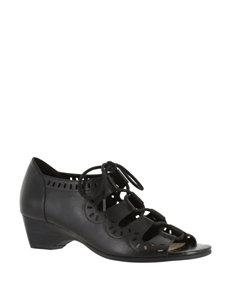 Bella Vita Black Heeled Sandals Wedge Sandals