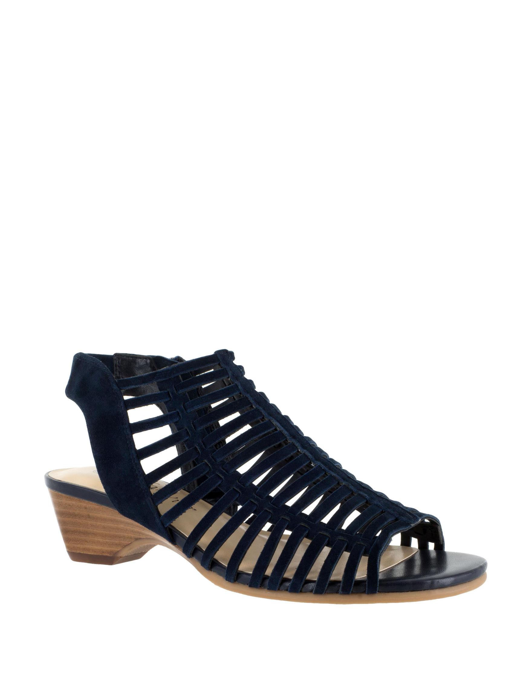 Bella Vita Navy Wedge Sandals