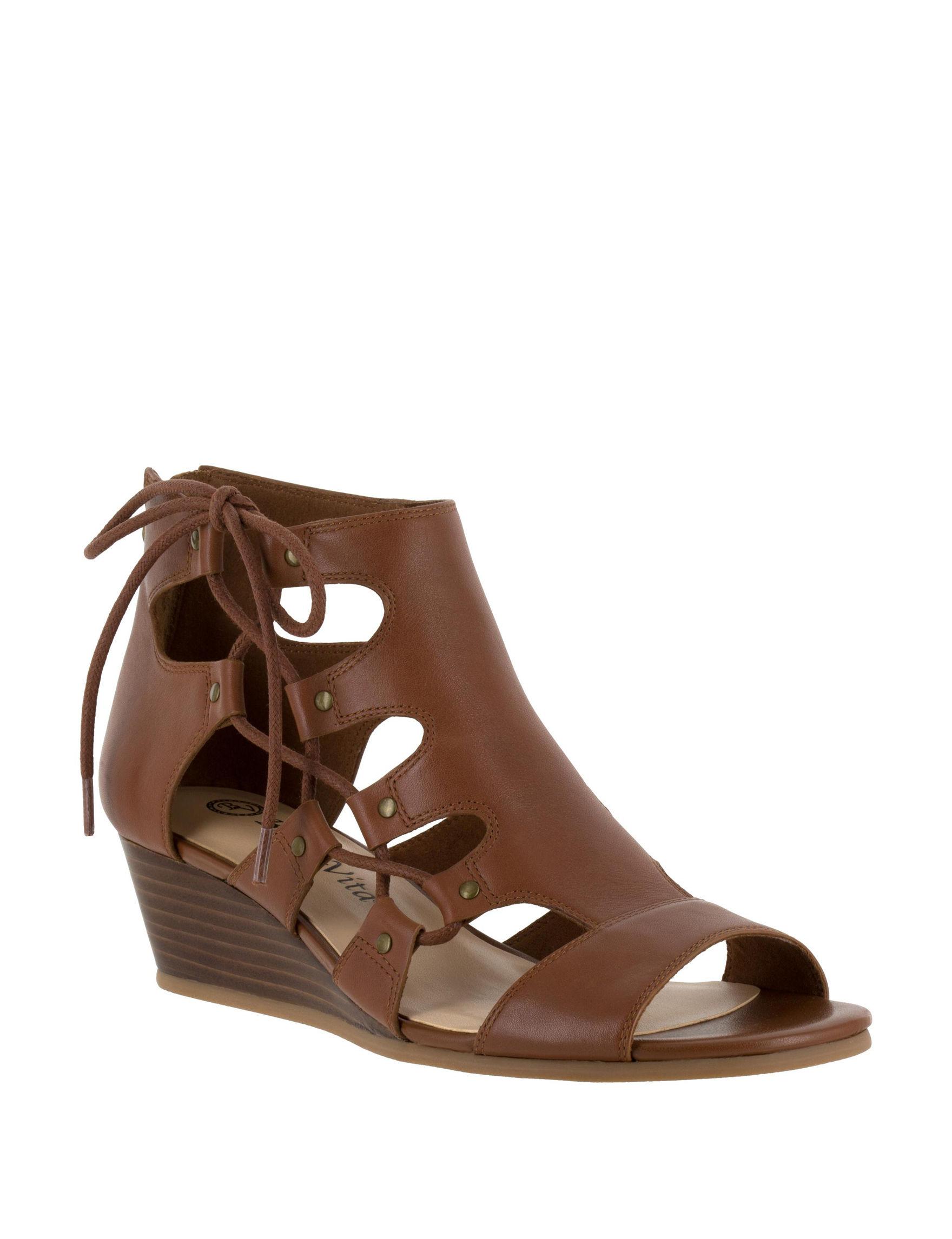 Bella Vita Beige Wedge Sandals