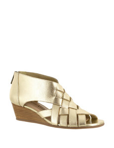 Bella Vita Gold Wedge Sandals