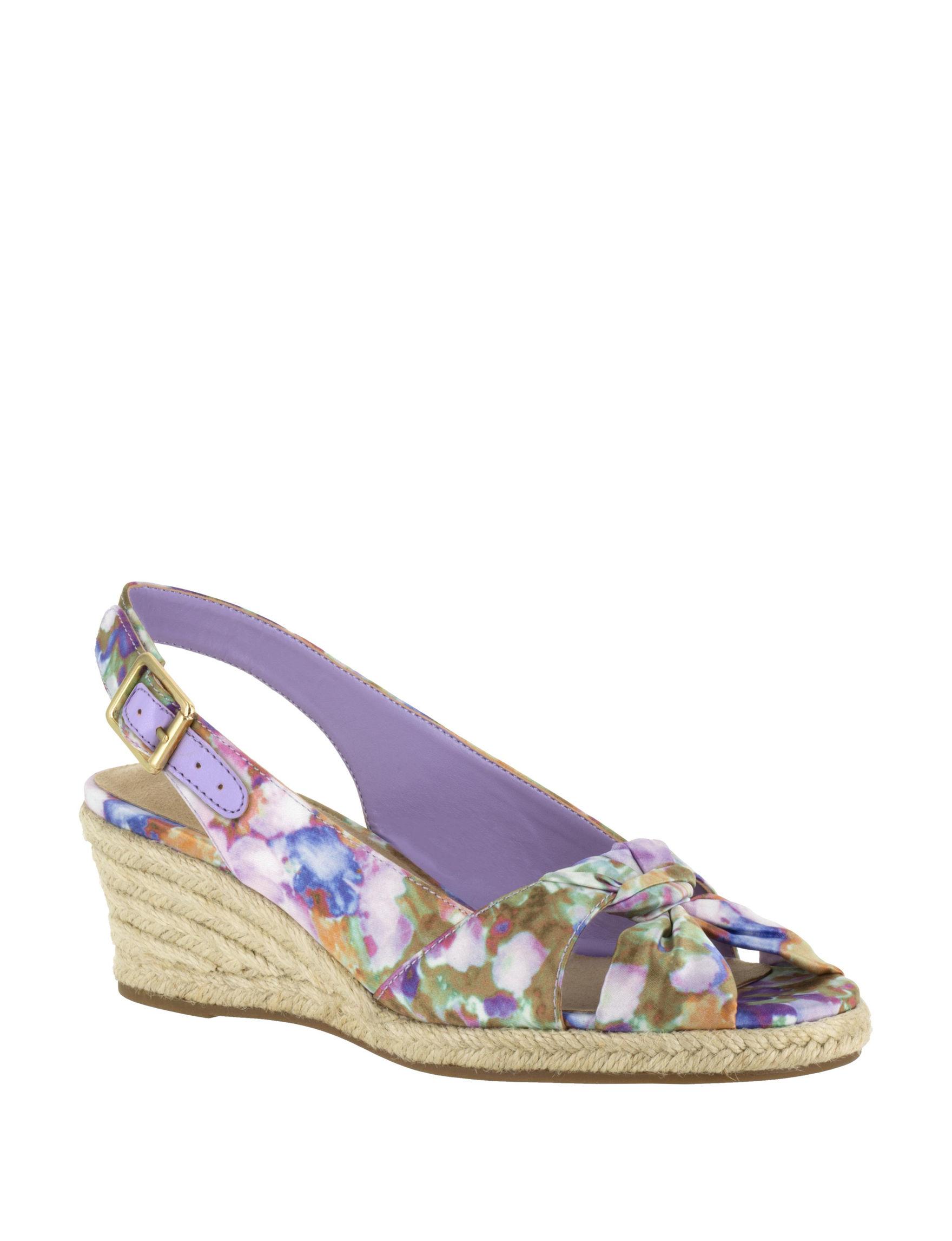 Bella Vita Purple Floral Wedge Sandals