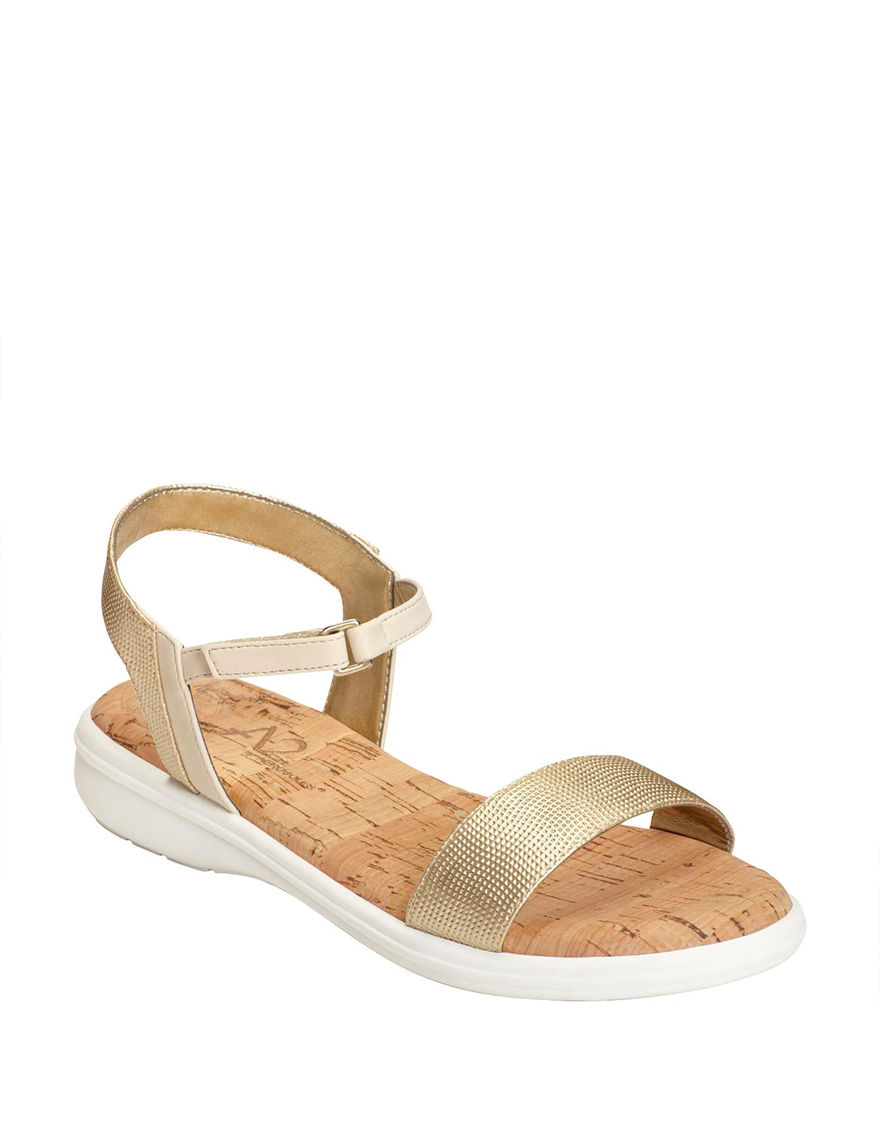 A2 by Aerosoles Gold Flat Sandals Comfort