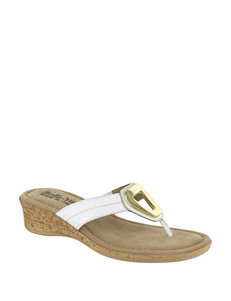 Bella Vita White Flip Flops Wedge Sandals