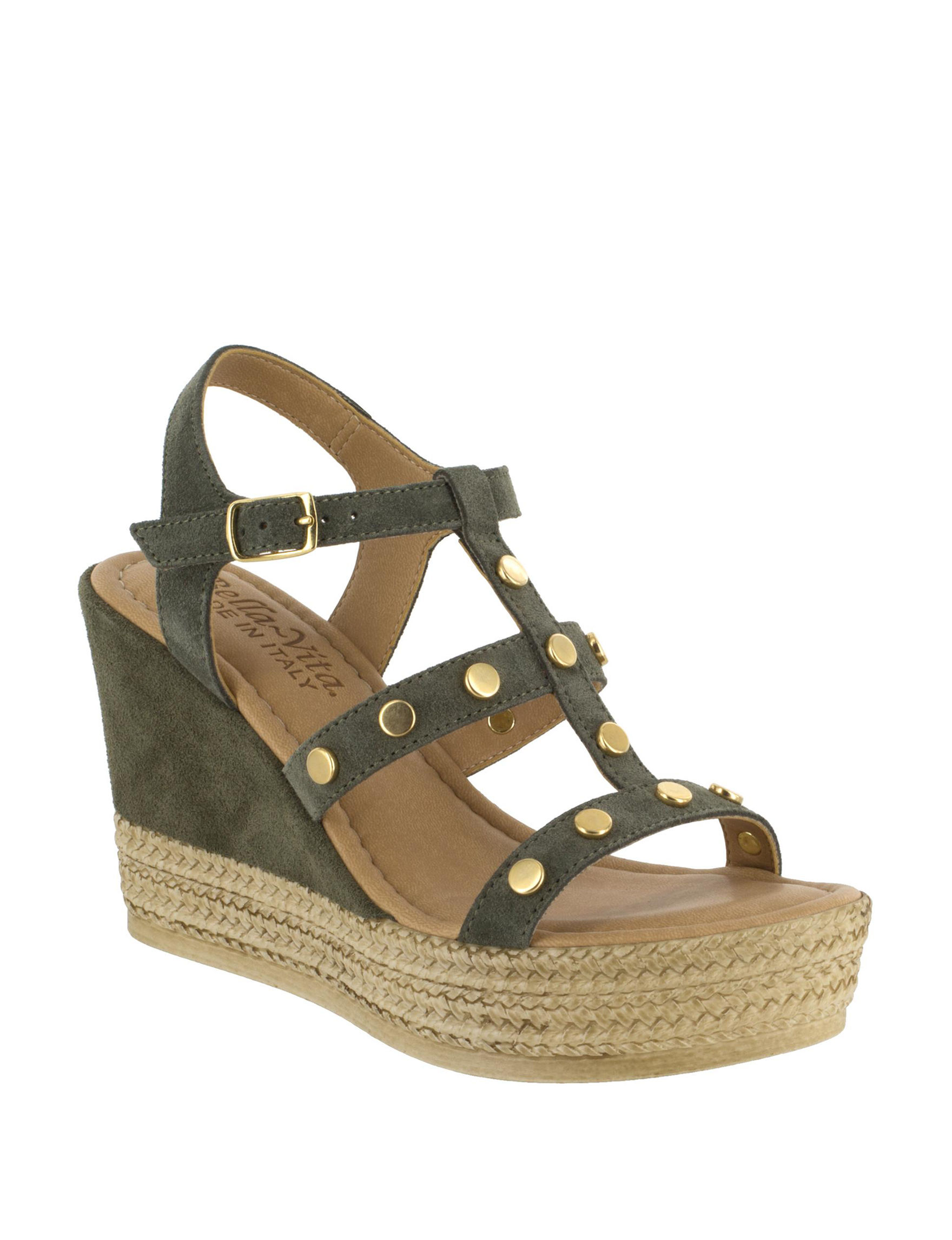 Bella Vita Olive Espadrille Wedge Sandals