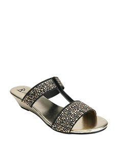 Bellini Black Wedge Sandals