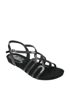 Bellini Black Flat Sandals