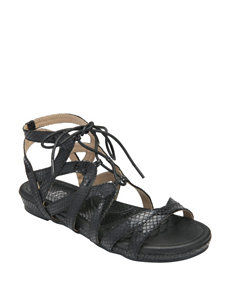 Bellini Black Flat Sandals Gladiators