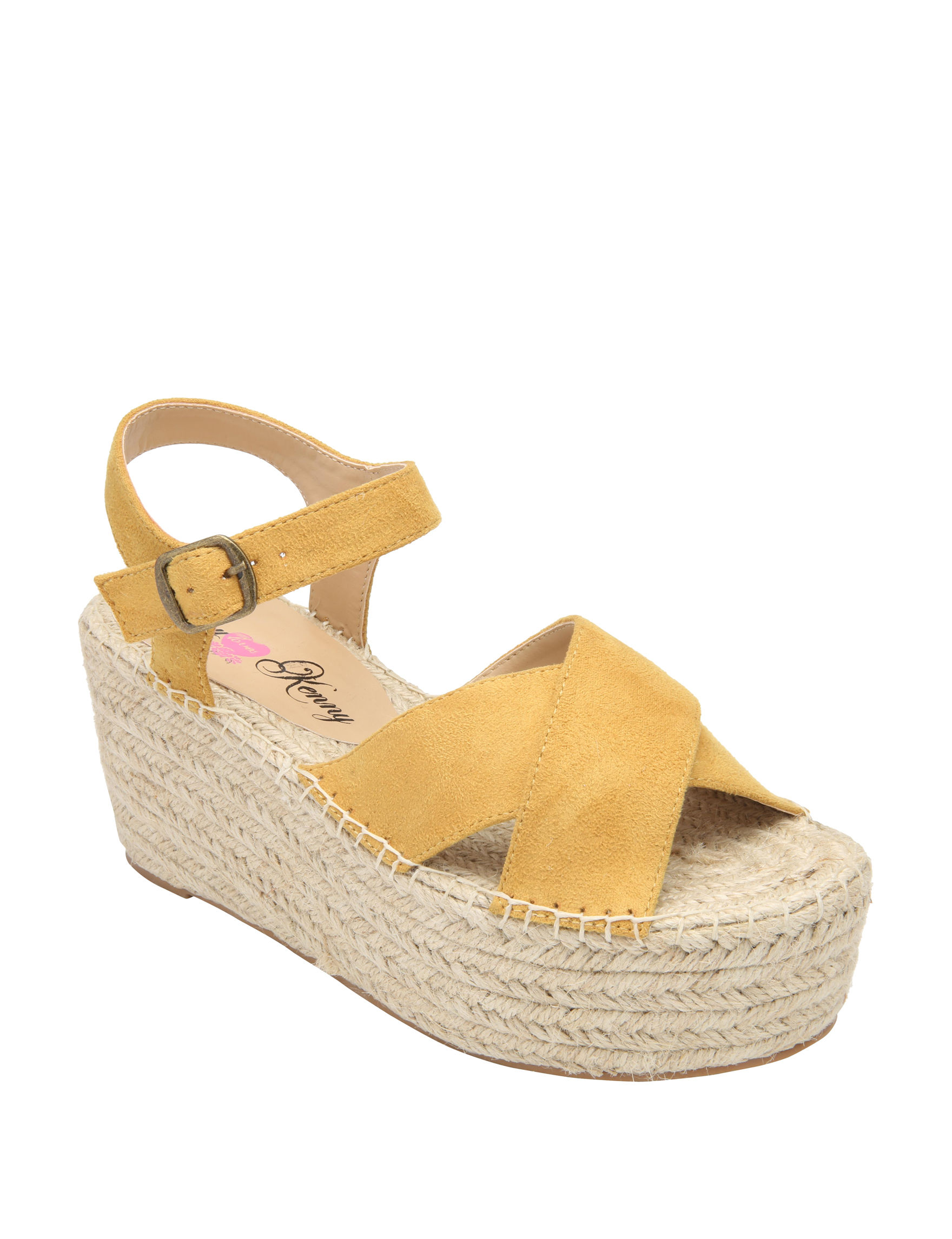 Penny Loves Kenny Tan Espadrille Wedge Sandals