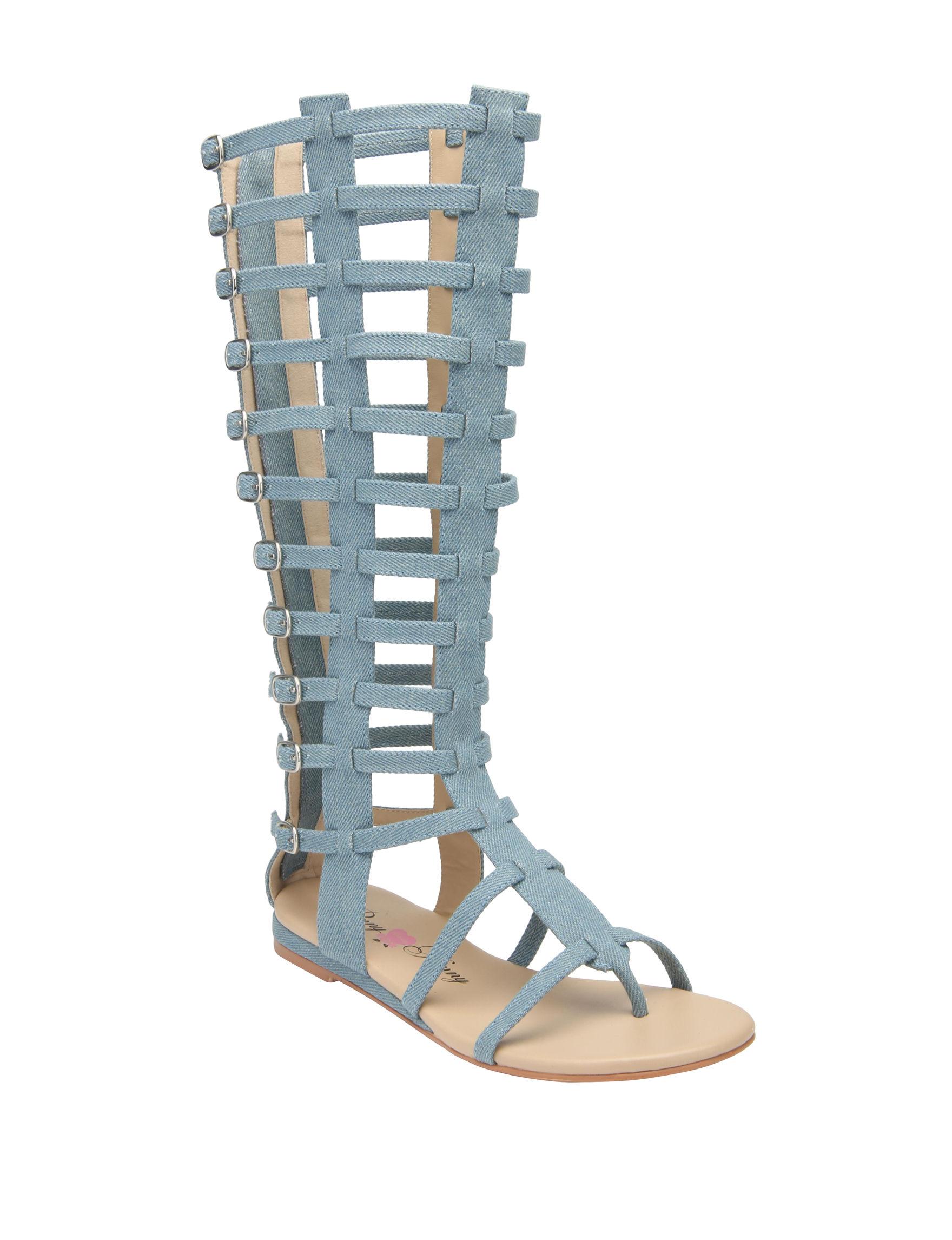 Penny Loves Kenny Blue Flat Sandals Gladiators